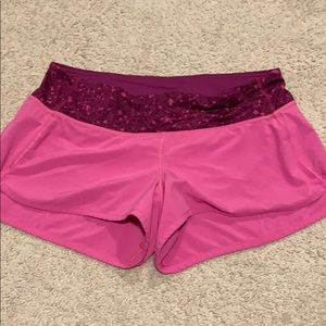 Pink lululemon speed shorts